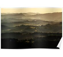 Sunset over Beskidy Mountains Poster