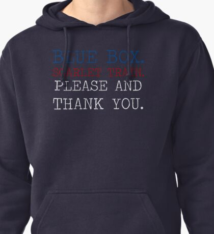Blue Box. Scarlet Train. Version 2. Pullover Hoodie