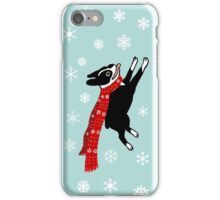 Holiday Boston Terrier Wearing Winter Scarf iPhone Case/Skin