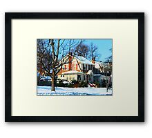 House Down the Street in Winter Framed Print
