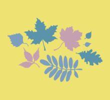 Pastel Leaves Pattern One Piece - Short Sleeve