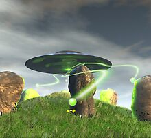 UFO and Ancient Stone Circle by mdkgraphics