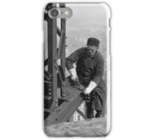 Black and white retro construction site. iPhone Case/Skin
