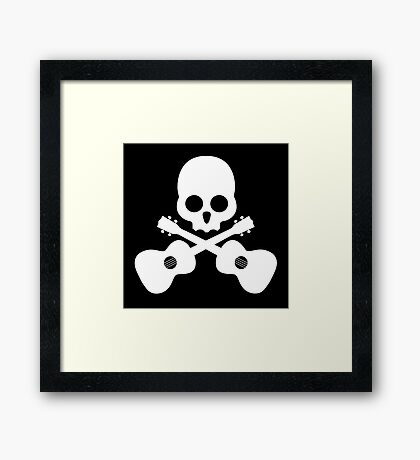 Old Skull Music Guitar Framed Print