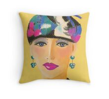 fancy hat lady Throw Pillow