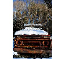 Abandoned truck in the snow Photographic Print