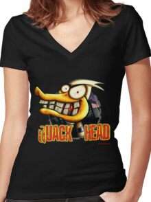 Quack Head Duck Women's Fitted V-Neck T-Shirt