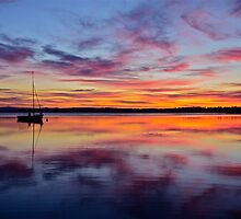 Sunset on the lake. 30-7-11. by Warren  Patten