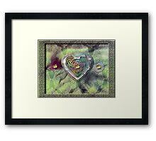 Flowers, Lace and a Silver-Rainbow Heart Framed Print