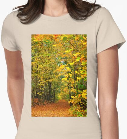 PATH TO AUTUMN COLOURS Womens Fitted T-Shirt