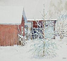 Red Barn with christmas tree in the snow by Peter Lusby Taylor