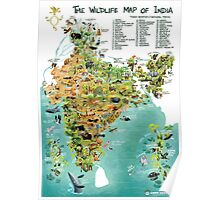 The Wildlife Map of India Poster