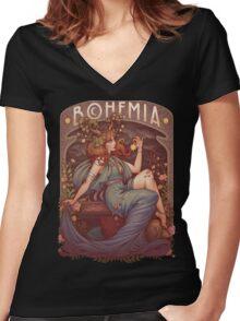 Art Nouveau BOHEMIA Women's Fitted V-Neck T-Shirt
