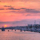Sunset Harbor Cruise by Eddie Yerkish