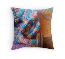 French Knitting 2 Throw Pillow