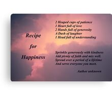 Recipe for Happiness Canvas Print
