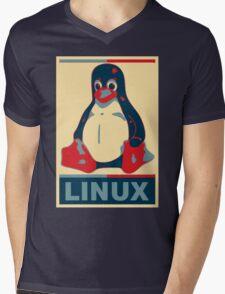 Linux Tux Mens V-Neck T-Shirt