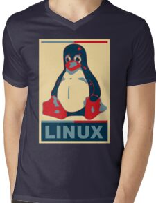 Linux Tux Mens V-Neck T-Shirt