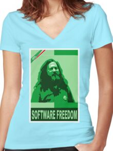 Software Freedom Women's Fitted V-Neck T-Shirt