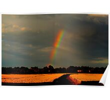 Rainbow over wheat fields, Low Coniscliffe, England ( 2 FT) Poster