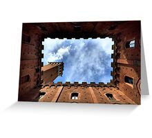Palazzo publico, Sienna, Italy, frogs perspective Greeting Card