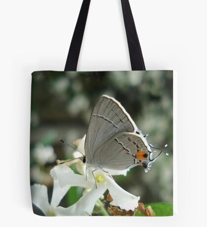 Gray Hairstreak on Jasmine Tote Bag