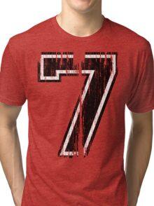 Bold Distressed Sports Number 7 Tri-blend T-Shirt