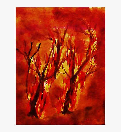 Fire!! Natural Disasters, for Series, Watercolor Photographic Print
