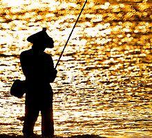 Fisherman on Golden Sea by JohnKarmouche