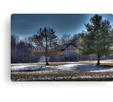 Tobacco Barn in the Winter Canvas Print