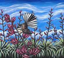 Fantail in the Harakeke by Ira Mitchell-Kirk