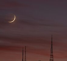 Crescent Moon with Earth Shine and TV Towers Mount Dandenong by Australis
