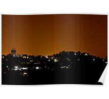 Illuminated hill Poster