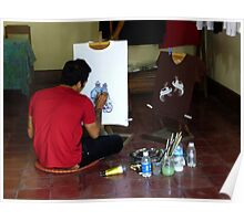 Hand-Painting T-Shirts in Bali Poster