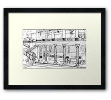 Getty Villa Pen and Ink Sketch Framed Print