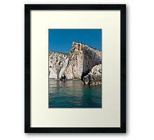 Blue Seaside Clif Zakinthos Framed Print