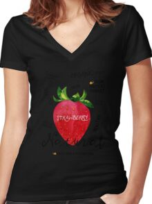 Watercolor strawberry Women's Fitted V-Neck T-Shirt