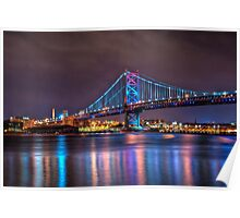 Benjamin Franklin Bridge at Night Poster