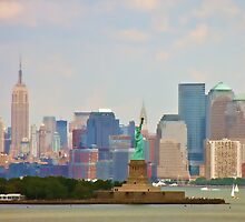 Statue of Liberty and Empire State Building by dbvirago
