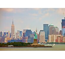 Statue of Liberty and Empire State Building Photographic Print