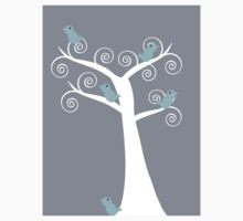 5 blue birds (gray background) Kids Clothes