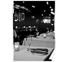 Restaurant in black and white Poster