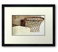 Vintage Textured Basketball Goal Framed Print