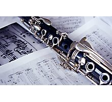Clarinet on Sheet Music Photographic Print