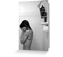 Girl in Shower - Words on Body II Greeting Card