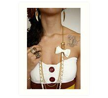 Girl with Owl Jewelry & Tattoo Art Print