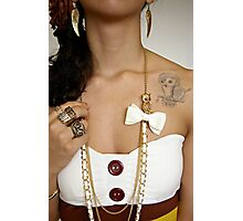 Girl with Owl Jewelry & Tattoo Photographic Print