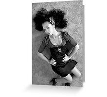 Girl on Floor in black & white Greeting Card