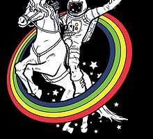 Rainbow astro riding unicorn by GalaxyTime