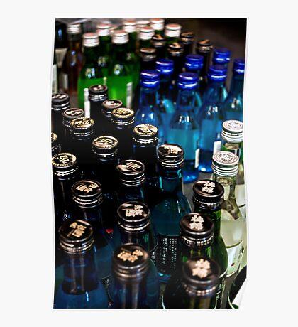 Blue & Green Bottles Poster